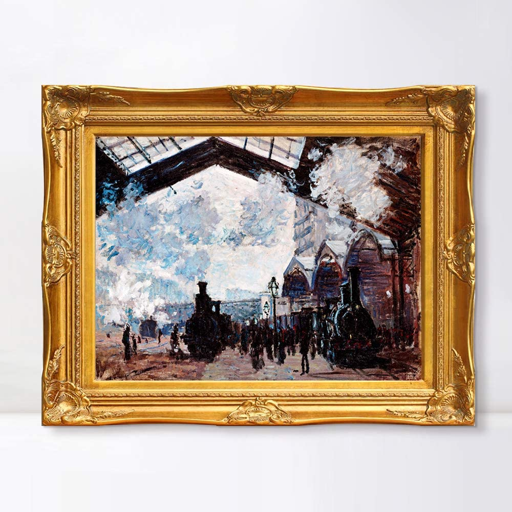 "INVIN ART Framed Canvas Artwork,Saint-Lazare Railway Station by Claude Monet, Giclee Print Painting Wall Art Decor for Restaurant,Hotel,Bar,Living Room(Victorian Gold Frame,28""x40"")"