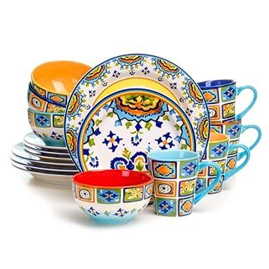 Euro Ceramica Mumbai Collection 16 Piece Ceramic Dinnerware Set, Vivid Watercolor Design, Assorted Multicolor