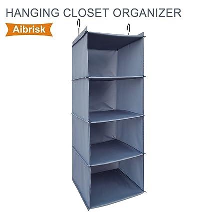 Aibrisk 4 Shelves Hanging Closet Organizer Collapsible Hanging Closet  Shelves Oxford Cloth, Gray