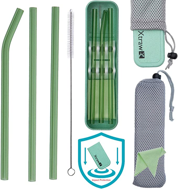 4 Bent C/&Z Glass Straw Healthy Reusable Eco Friendly Straight Drinking Straws for Smoothie Cocktail Hot Drinks with 1 Cleaning Brushes