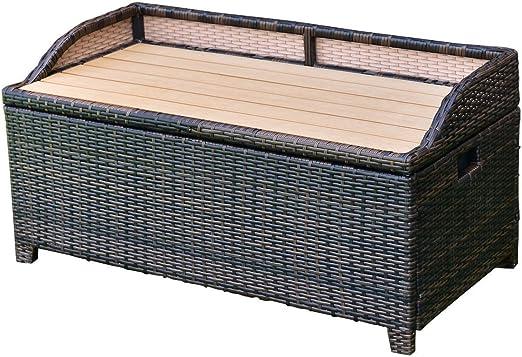 Tangkula Coffre De Rangement En Osier Pour Terrasse Ou Piscine 22 7 L Amazon Fr Jardin