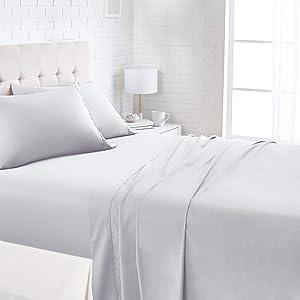 AmazonBasics 1100TC Luxury Easycare Sheet Set - King, Light Grey