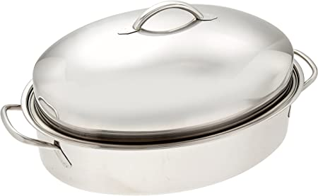ExcelSteel Professional Stainless Steel Dome Roaster W Roasting Rack, 18.75 x 12.25 x 7.5