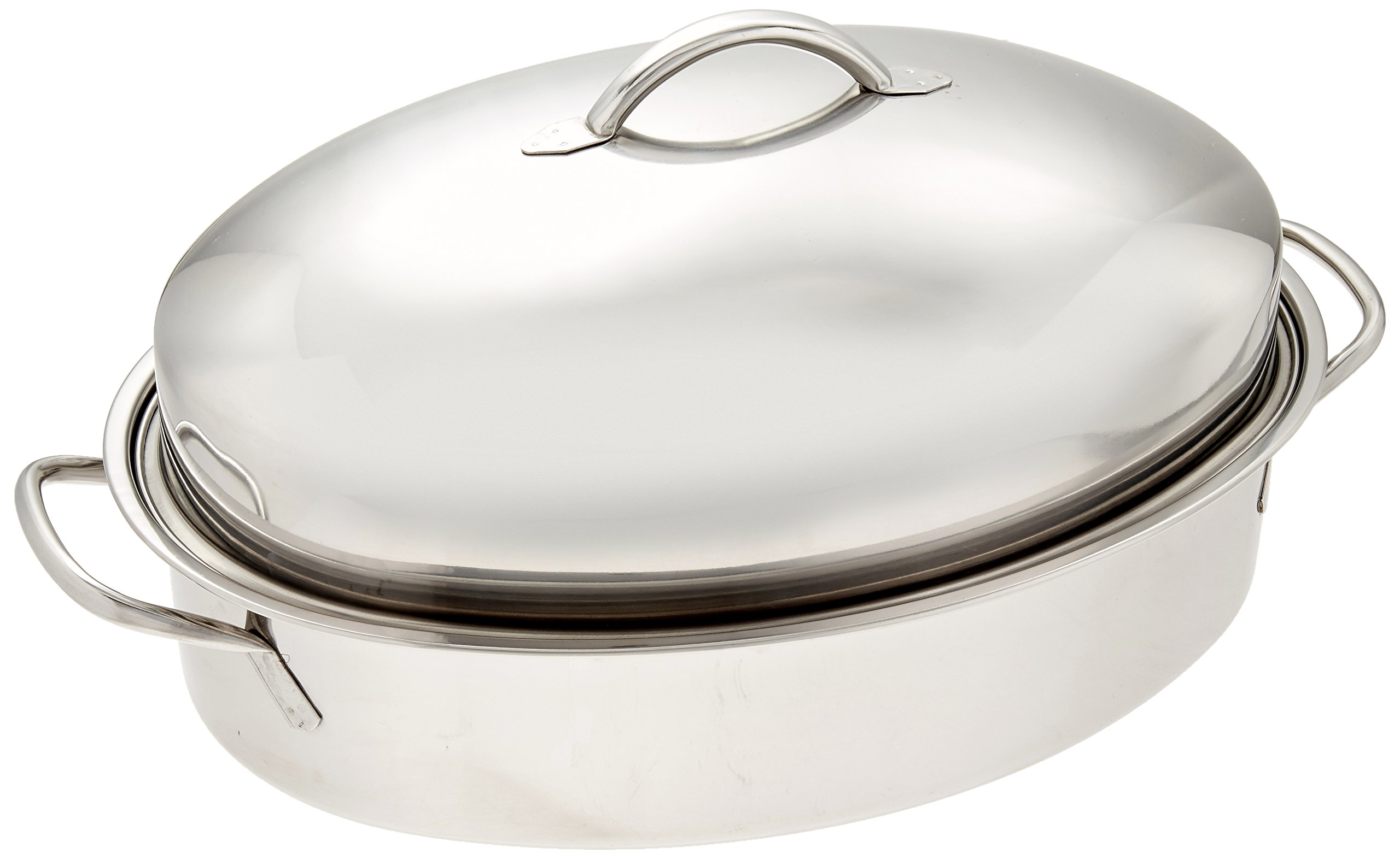 ExcelSteel Professional Stainless Steel Dome Roaster W/ Roasting Rack, 18.75'' x 12.25'' x 8''