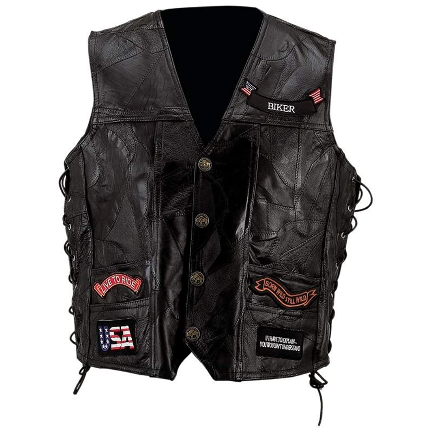 Diamond Plate Mens Plus Leather Embroidered Patches Vest