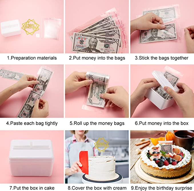 Cake Birthday Money Box Set Birthday Cake Toppers and Transparent Bags for Birthday Party Cake Size in 8 Inch or Larger Decorations Supplies