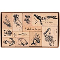 Wooden Rubber Stamps, NogaMoga 12pcs Marine Animal Patterns Rubber Stamp Set with 11 Sizes, Decorative Rubber Seal for…