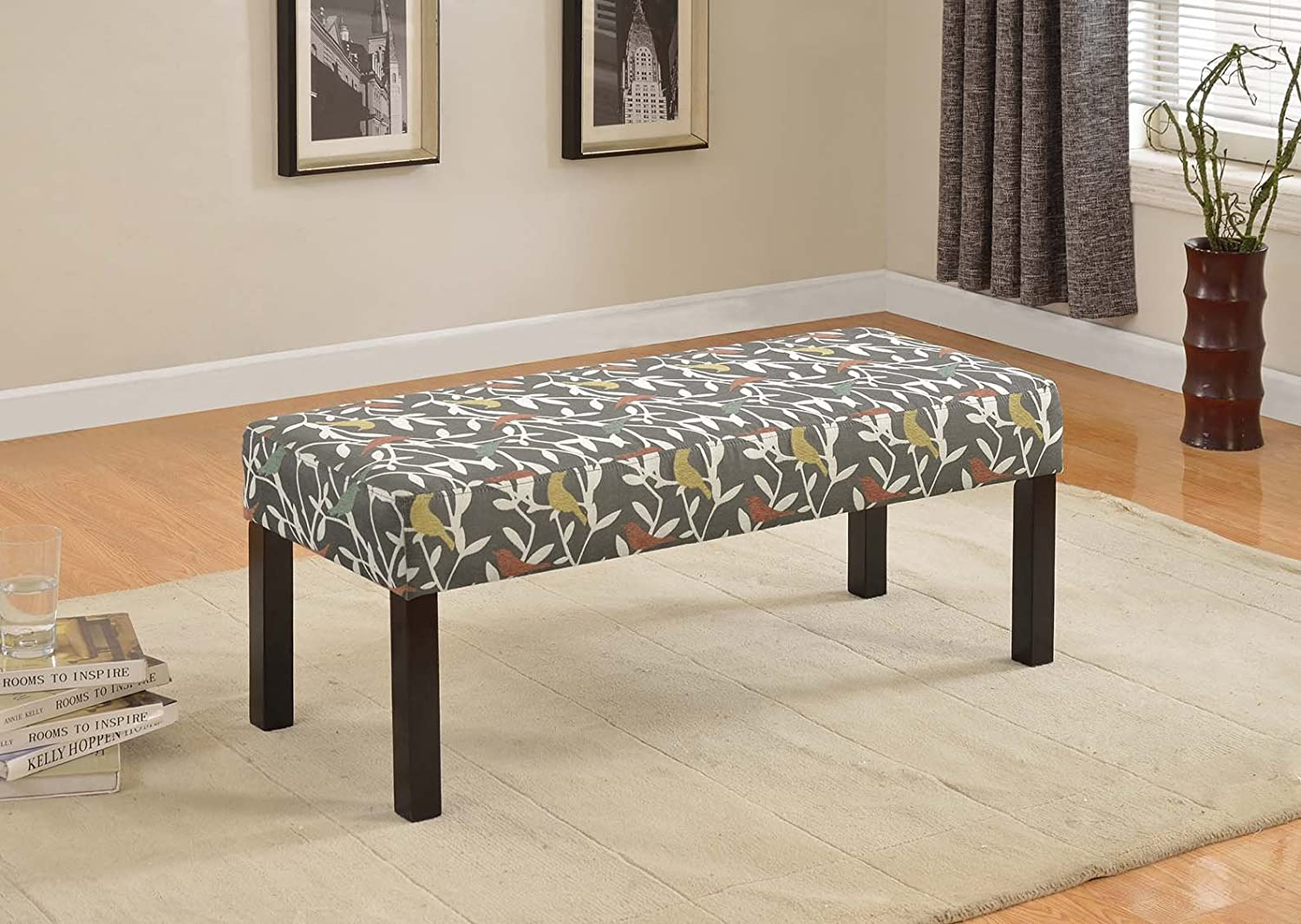 US Pride Furniture BC-1004 Fabric Upholstered Decorative Bench, Blue