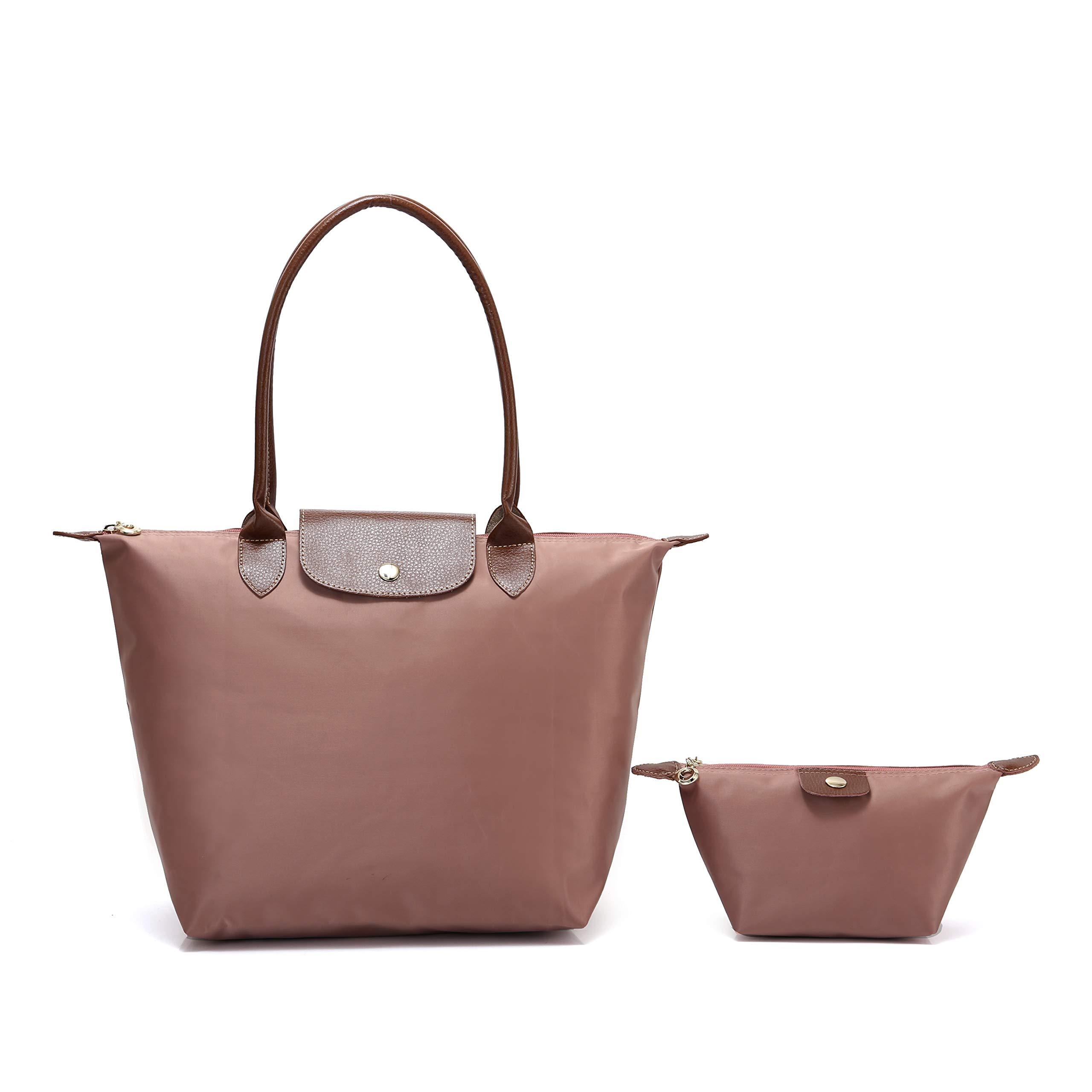 2 pcs Women's Stylish Waterproof Tote Bag Nylon Travel Shoulder Handbag (Pink, Medium)