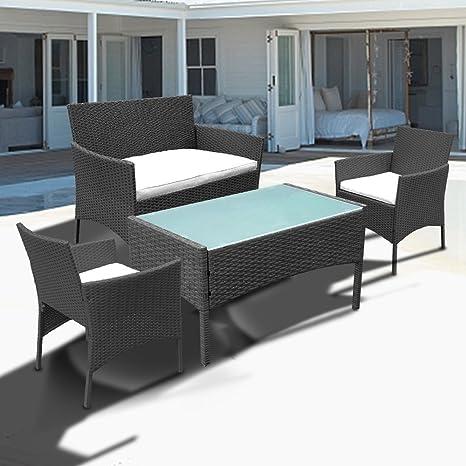 Hengda® Muebles de Jardín Mesa de Café Sillones mimbre Relax ...