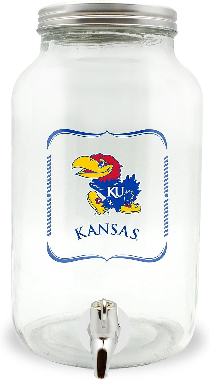 NCAA Kansas Jayhawks Glass Drink Dispenser / Sun Tea Jar, 3 Liter
