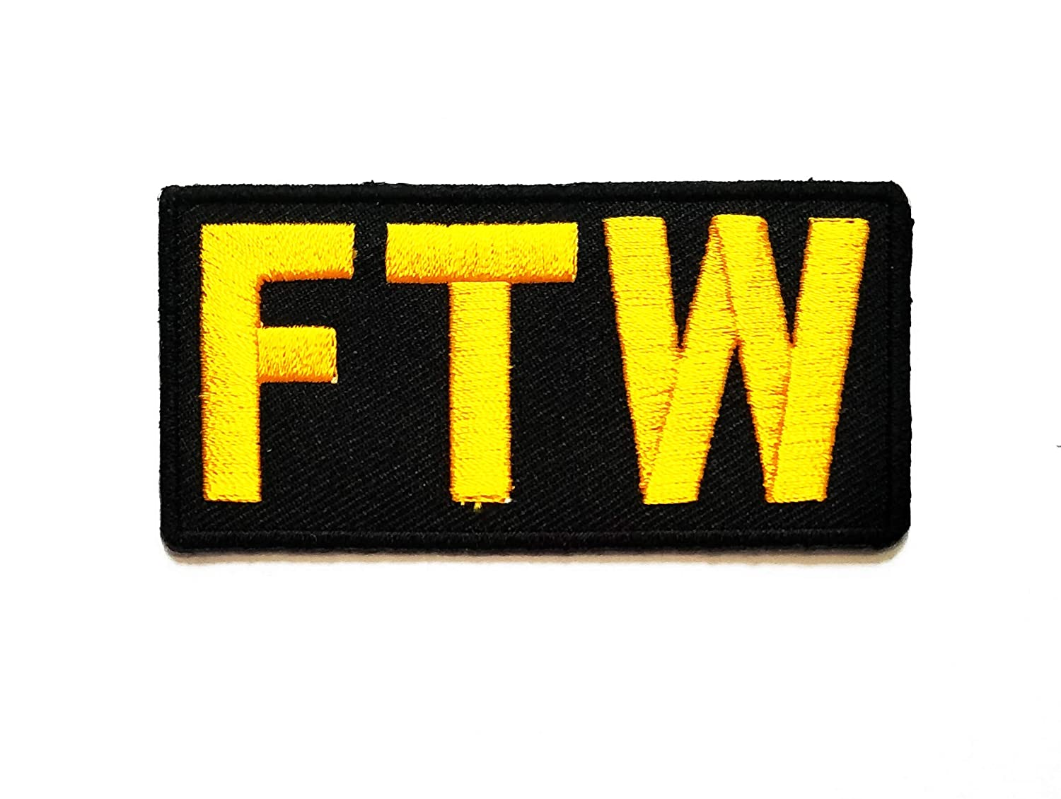 Nipitshop Patches Yellow Black Patch FTW FCK The Words Patch Funny Words Rider Motorcycle Biker Patch Embroidered Iron On Patch for Clothes Backpacks T-Shirt Jeans Skirt Vests Scarf Hat Bag