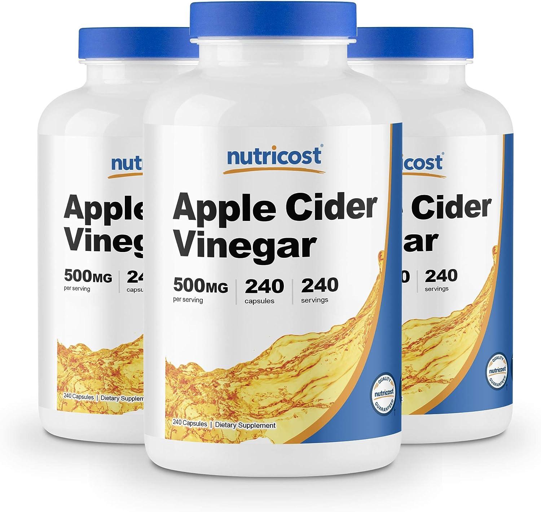 Nutricost Apple Cider Vinegar 500mg, 240 Veggie Capsules (3 Bottles)
