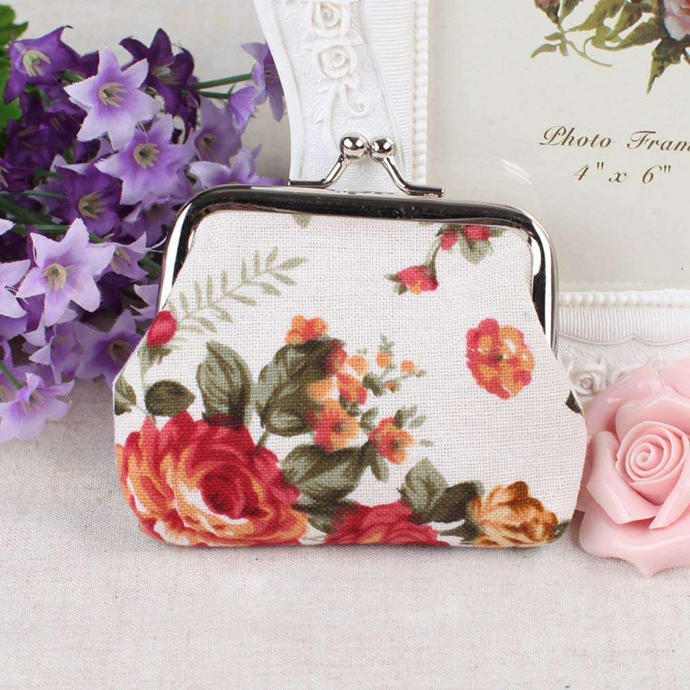 Originaltree Vintage Flower Canvas Women Hasp Clutch Buckle ❁ Coin Purse ❁ Cash Card Holder Bag Jewelry Double-sided glass ball time Jewel Necklace Moon Series Pendant Black