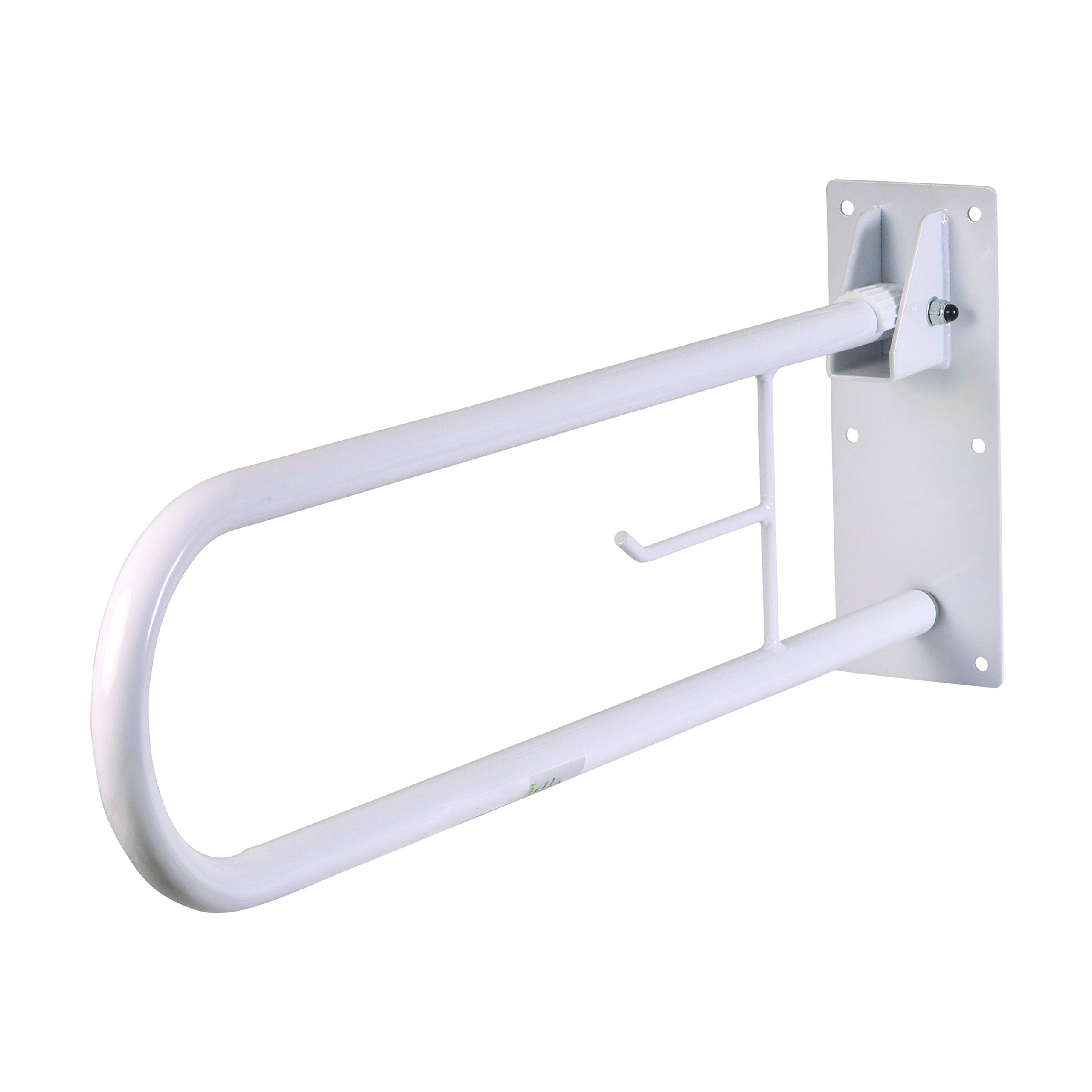 HealthSmart Fold Away Grab Bar Handrail Shower Safety Rail, White