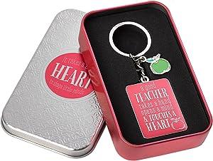 Teacher Appreciation Keychain- Hot Pink Christian Keychain w/ 1 Corinthians 16:14 Bible Verse—w/Green Apple Enameled Charm - Christian Art Teacher Appreciation Gift in Tin Box