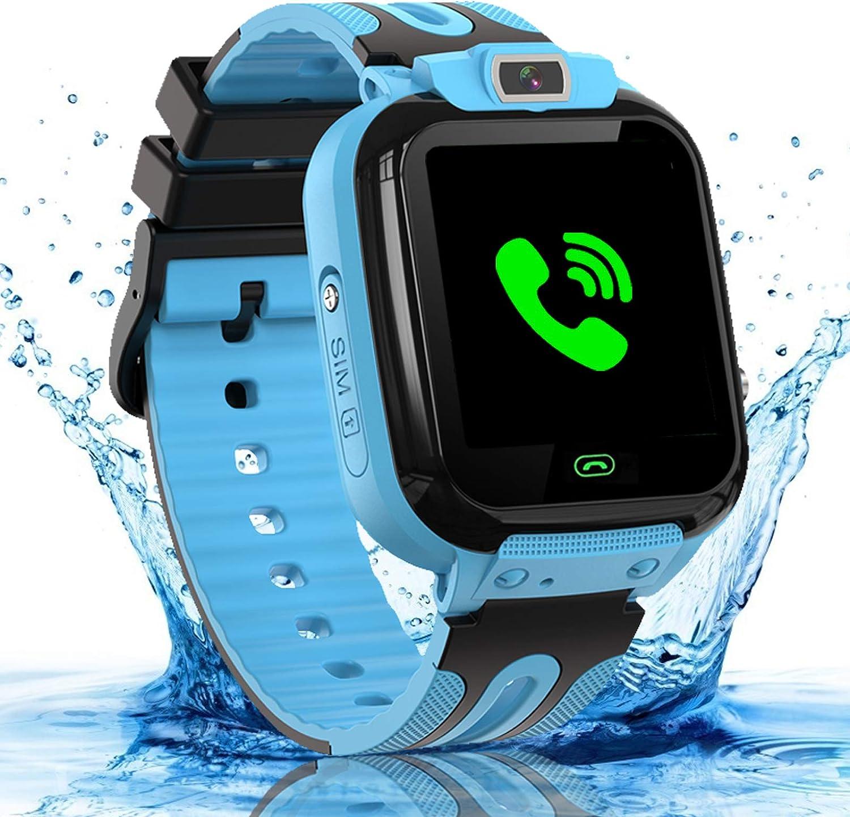 bhdlovely Reloj Inteligente para niños Teléfono a Prueba de Agua, smartwatch para niños relojs con cámara y Despertador para Estudiantes niños Regalos para 3-12 años niños y niñas-Azul