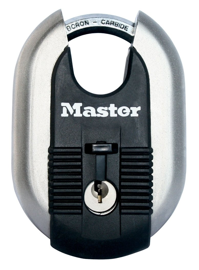 Master Lock Padlock, Excell Laminated Steel Padlock, Brass Finish, High Security Lock, Keyed Lock, Best Used for Storage Units, Sheds, Garages, Fences and More