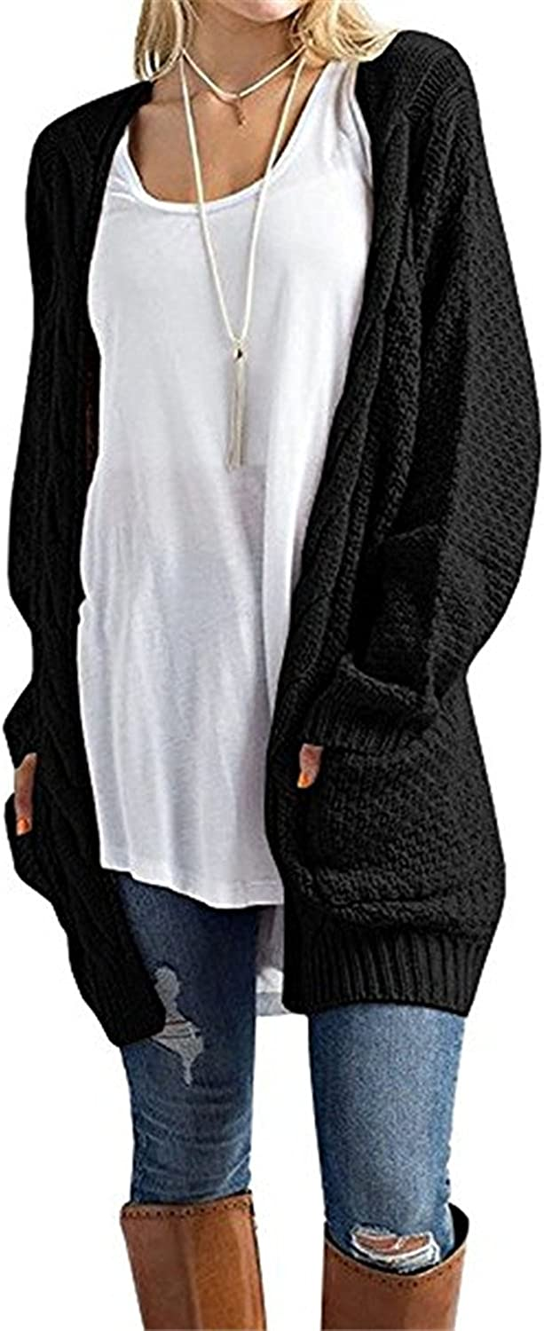 CNFIO Womens Long Sleeve Sweater Cardigan Open Front Loose Chunky Outwear with Pockets