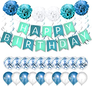 Blue Happy Birthday Banner Birthday Party Decorations Kit with Latex and Confetti Balloons, Pom Poms Flowers, Blue and Silver Foil Paper Swirls Supplies for Men and Women