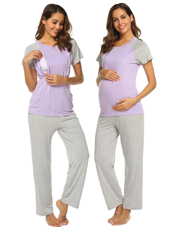 Ekouaer Maternity /& Nursing Pajama Set Cotton Breastfeeding Sleepwear Soft/ Pregnancy Loungewear S-XXL