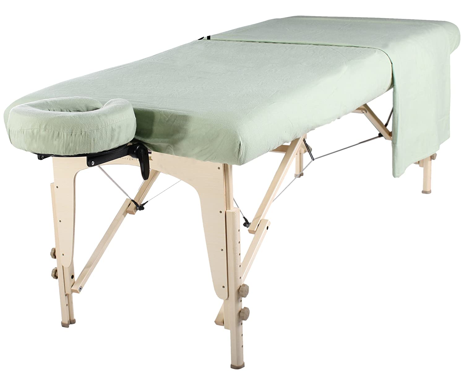Mt Universal Massage Table Flannel Sheet Set 3 in 1 Table Cover, Face Cushion Cover, Table Sheet, Lily Green Master Home Products LTD. (DROPSHIP)