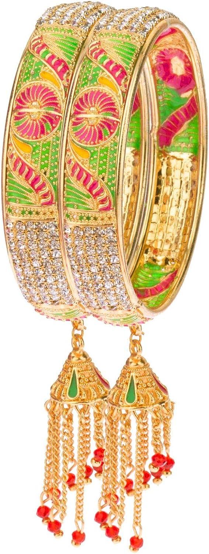 Efulgenz Indian Bollywood Wedding Bridal Rhinestone CZ Gold Plated Charm Jhumka Tassel Bracelet Bangle Set Jewelry