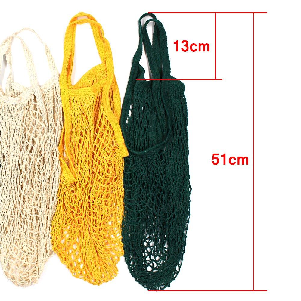 paquete de 4 unidades Bolsa de la compra ecol/ógica para frutas y verduras en forma de red