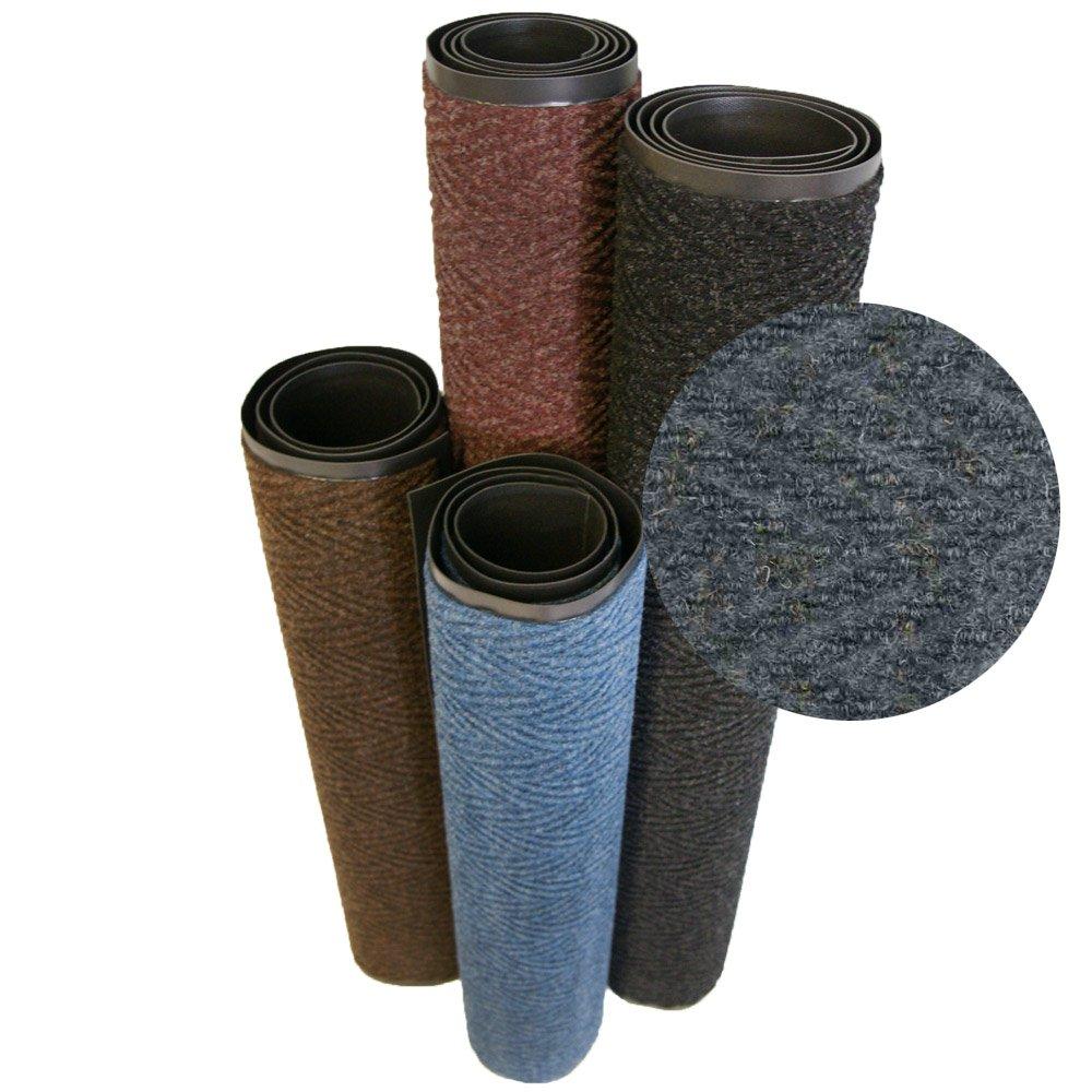 Rubber-Cal ''Chevron Rib'' Commercial Carpet Mats - 4ft x 8ft - Charcoal Entrance Matting