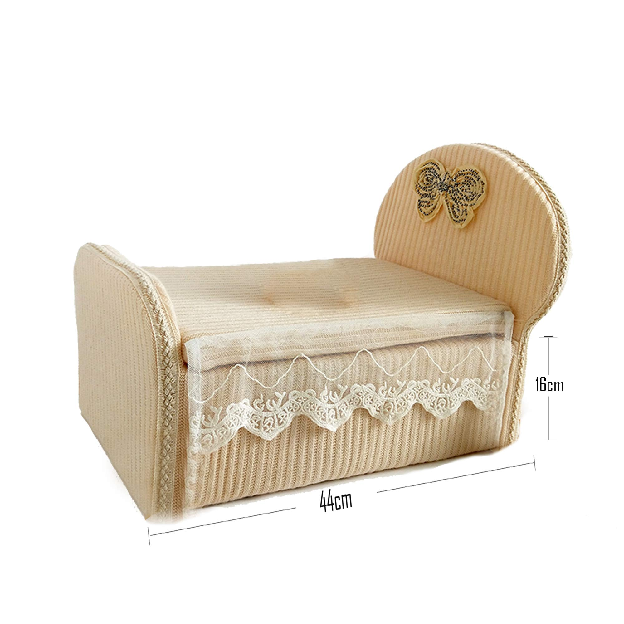 Newborn Foam Bed Photography Props 0-6 Months Professional Posing Aid 17''6.3'' (Beige)
