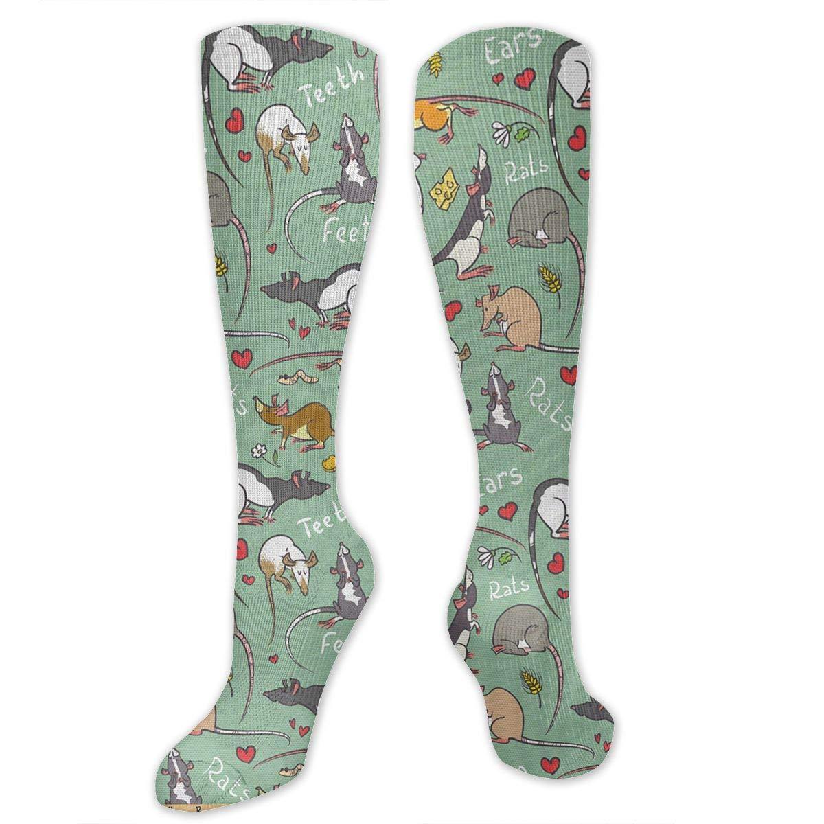Chanwazibibiliu Cute Cartoon Rats Mens Colorful Dress Socks Funky Men Multicolored Pattern Fashionable Fun Crew Cotton Socks