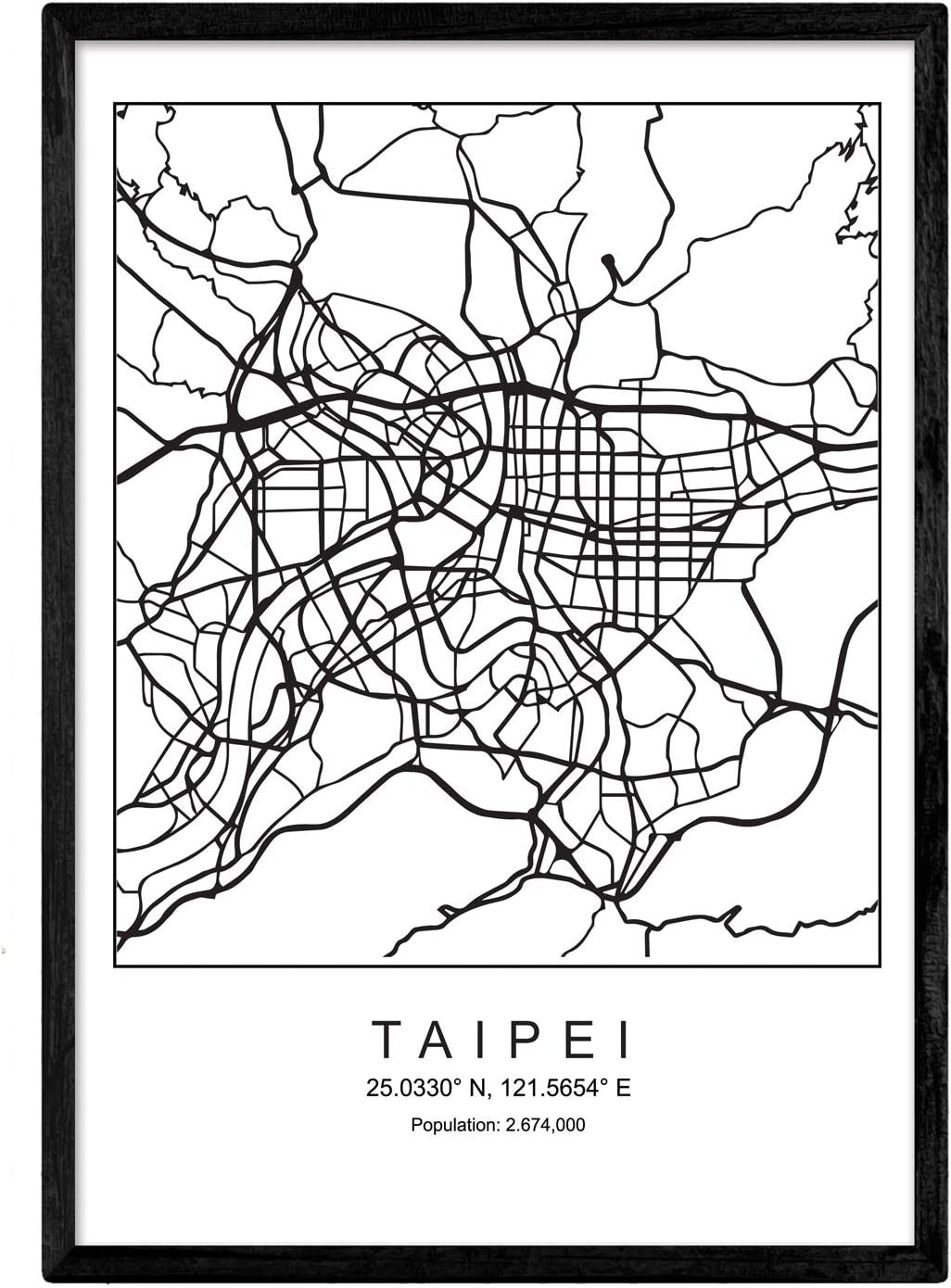 Nacnic Lámina Mapa de la Ciudad Taipei Estilo nordico en Blanco y ...