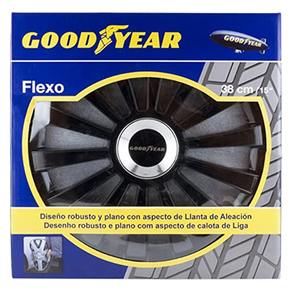 Good Year GOD9033 - Set de 4 Tapacubos Flexo 40, Negro, 15 Pulgadas: Amazon.es: Coche y moto