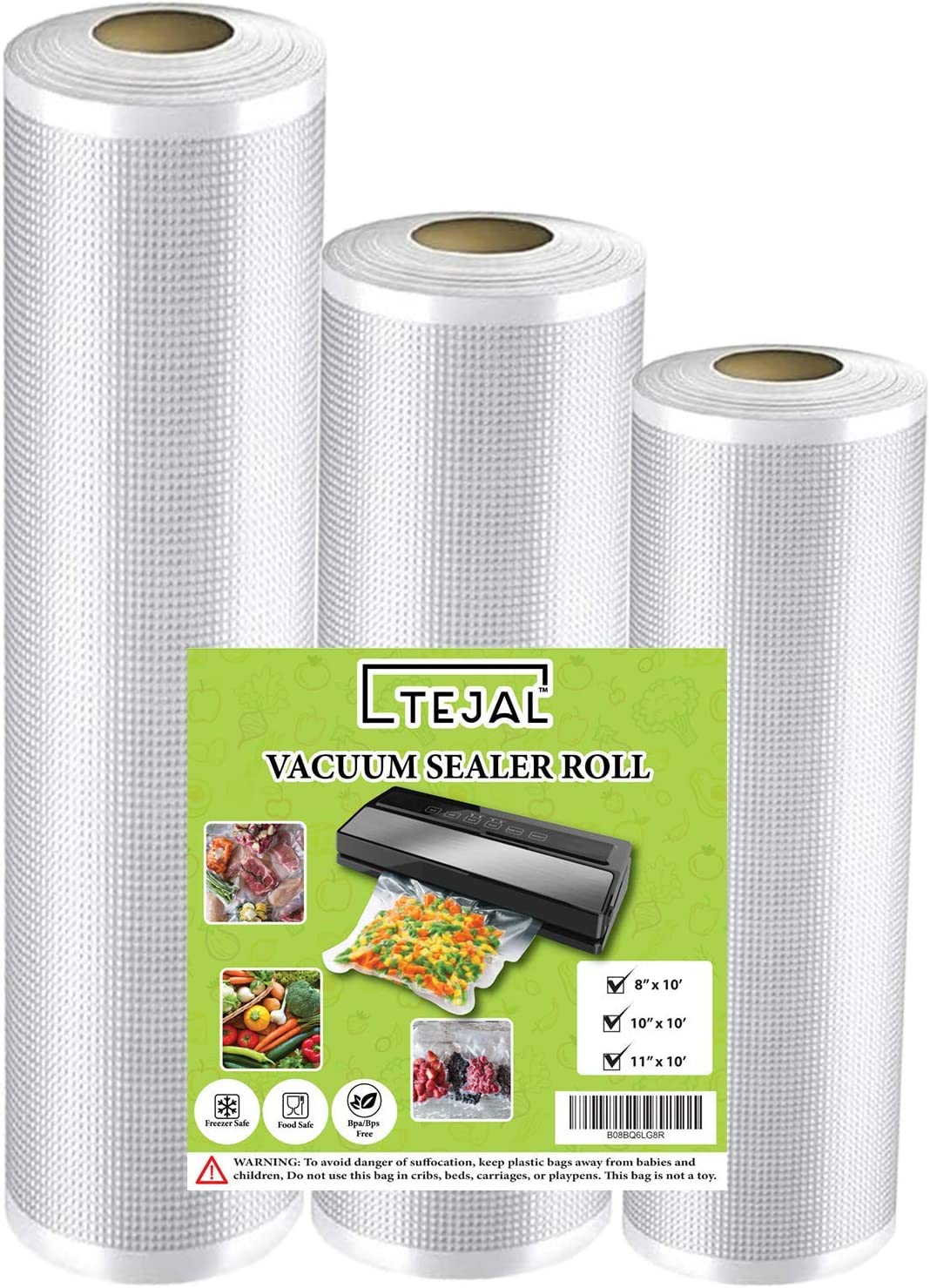 "Vacuum Sealer Bags for Food Saver Vacuum Sealer Bags Rolls 8"" x 10', 10"" x 10', 11"" x 10' 3 Pack Vacuum Seal Bags for Food Fit TEJAL Vacuum Sealer Sous Vide Bags Food Storage Bag Roll Vac Storage"