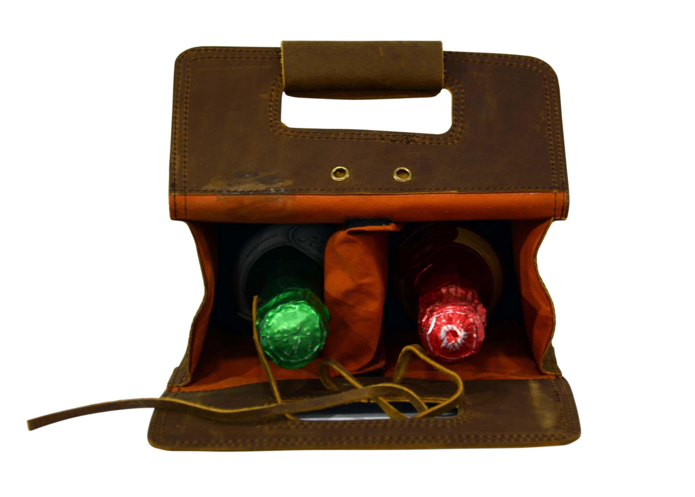 Double Wine Bottle Carrier Bag Leather Bottle Holder Tote Reusable Gift Bag Champagne Case, Valentines Gift Bag by ECOCRAFTWORLD (Image #4)