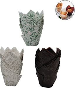150 PCS Tulip Cupcake Liner Baking Cups Paper Cupcake and Muffin Baking Cups for Baby Showers,Weddings, Birthdays, Colourful and Natural (Brown, Green, White) (Three Color)