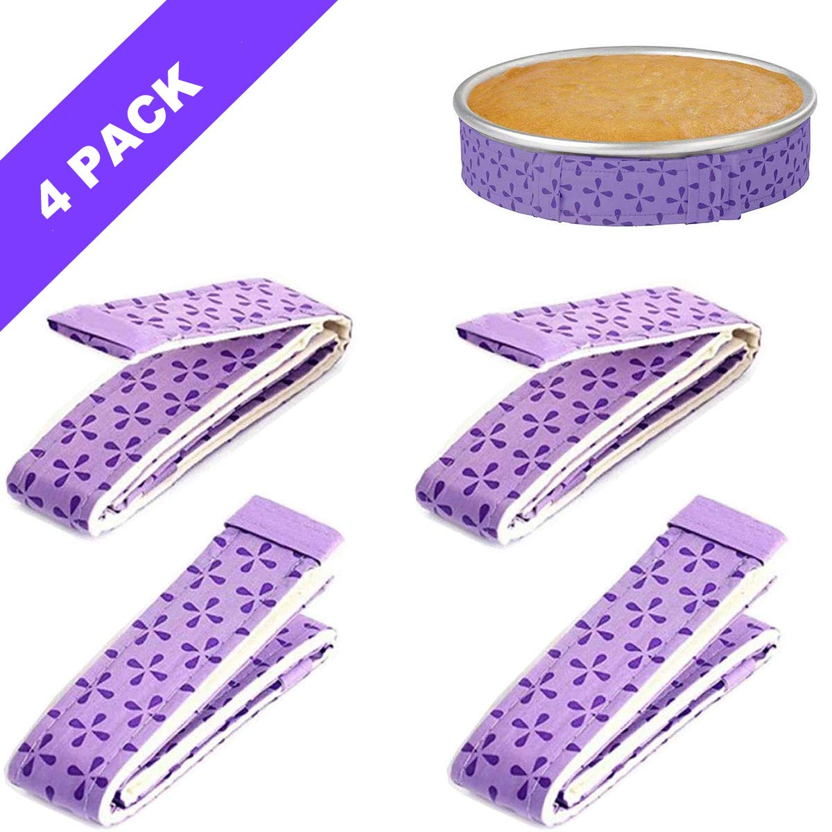 4-Piece Bake Even Strip,Cake Pan Strips,Super Absorbent Thick Cotton,Cake Strips for Baking,Cake Pan Strips