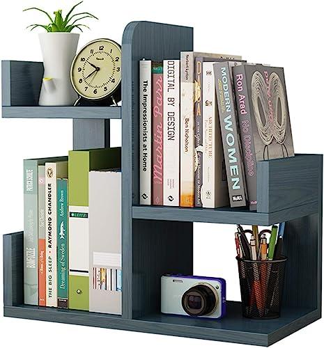 Wooden Desktop Shelf Small Bookshelf Mini Bookshelf Assembly countertop Bookcase Accessories Display Stand Office Supplies Desk Storage Box Nordic Blue