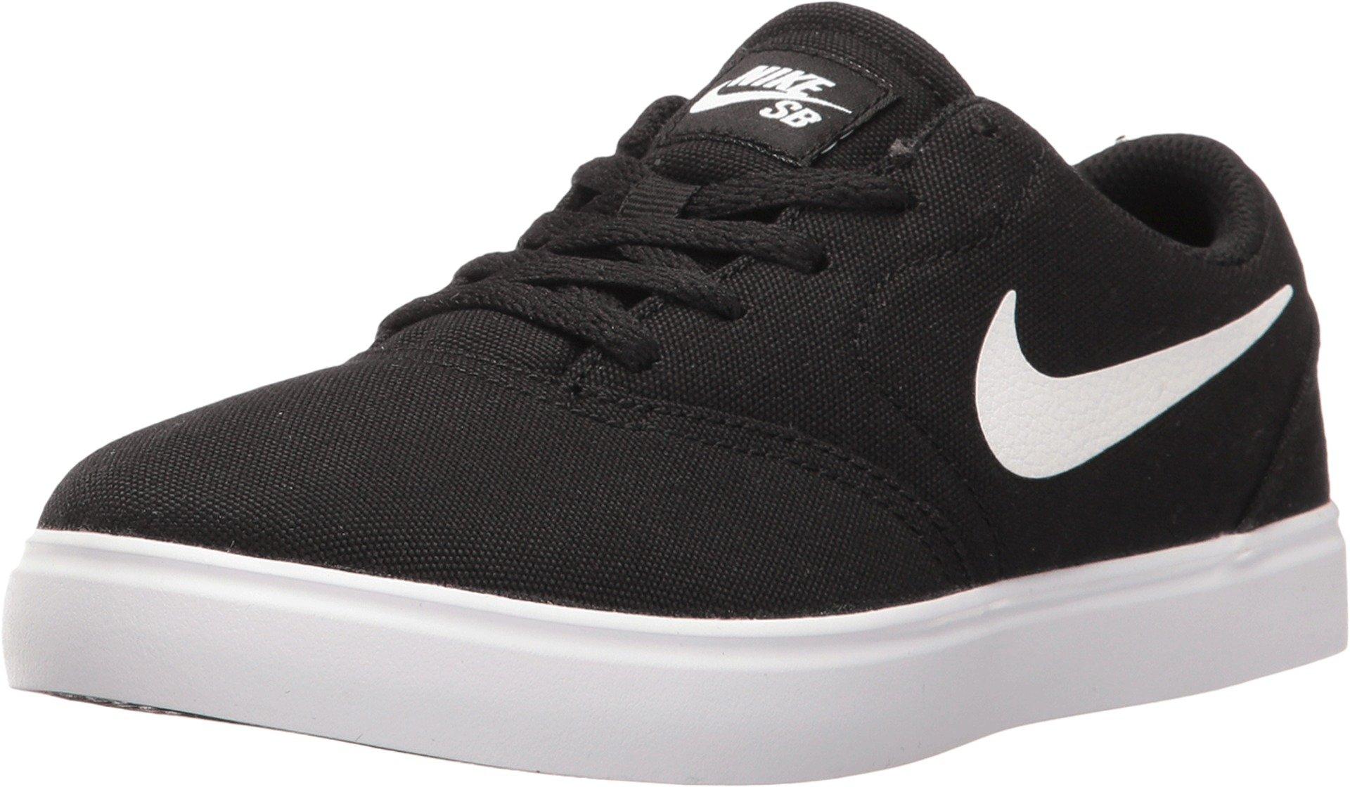 Nike Boy's SB Check Canvas (PS) Skateboarding Shoes (12 Little Kid M, Black/White)