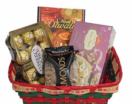 Amazon diwali gift hamper haldiram soan papdi almonds and diwali gift hamper haldiram soan papdi almonds and ferrero rocher in a beautiful basket negle Choice Image