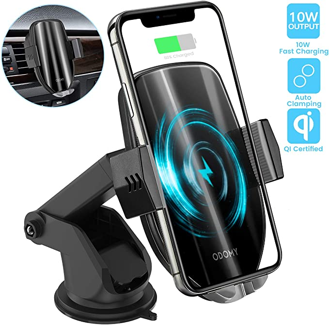 ODOMY Wireless Car Charger Mount Auto Clamping Qi Car Mount