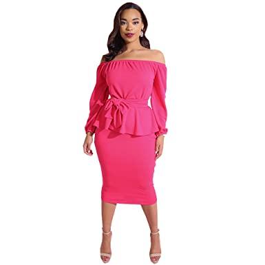 4500881d4a Rebdolls Women s Cocktail Peplum Over The Shoulder Long Sleeve Bodycon Midi  Dress- Plus Sizes at Amazon Women s Clothing store