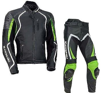 Traje de piel para motorista Kawasaki Ninja, traje para carreras confeccionado con blindado CE, cualquier color y talla: Amazon.es: Coche y moto