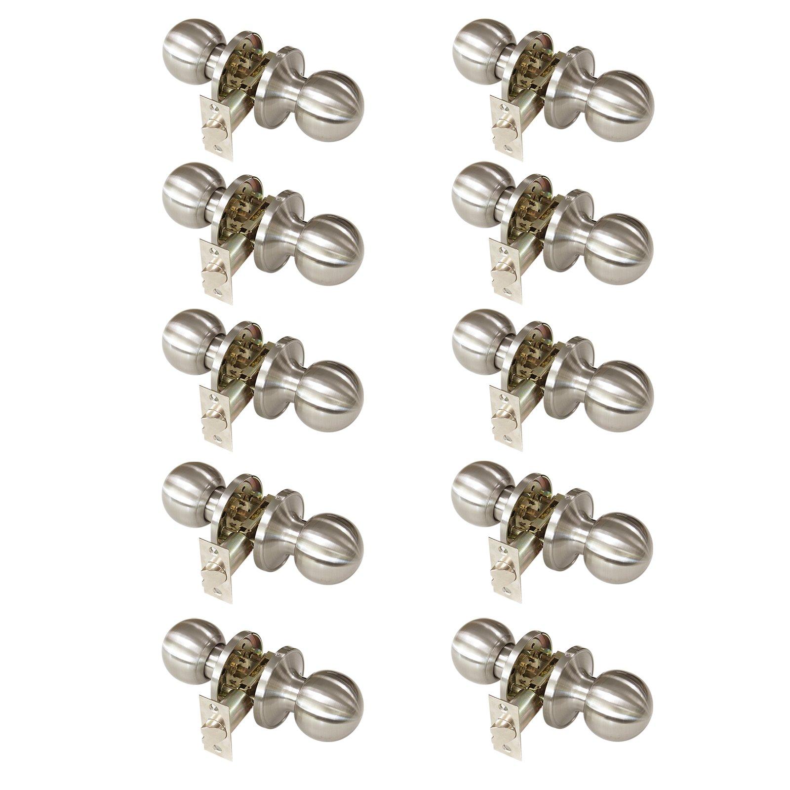 Gobrico Passage Door Lock Satin Nickle Interior Keyless Round Door Knobs Handles Locksets 10Pack