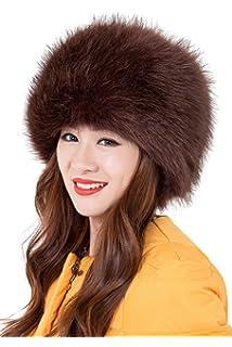 Landove Cappello Pelliccia Sintetica Rotondo Cappellini Invernali Donna  Elegante Comodo Moda Russia Cappello Cosacco di Ecopelliccia 7f78d27375e7