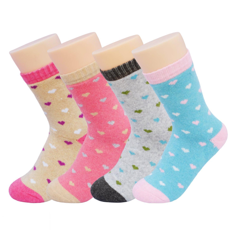 JOYCA & Co. 3-5 Pairs Womens Multicolor Fashion Warm Wool Cotton Thick Winter Crew Socks (Tiny Love)