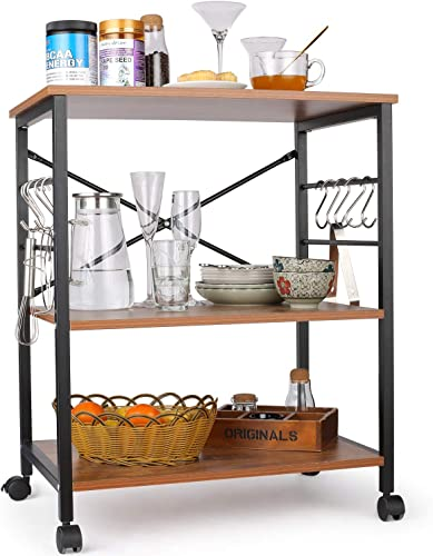 Himimi Kitchen Baker s Rack, 3-Tier Microwave Oven Stand with Metal Frame and 10 Hooks, Industrial Storage Stand for Kitchen Living Room Decoration