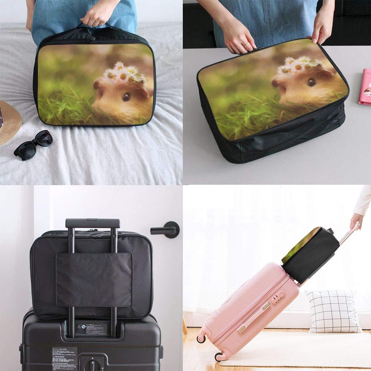 Travel Luggage Duffle Bag Lightweight Portable Handbag Cute Guinea Pig Large Capacity Waterproof Foldable Storage Tote