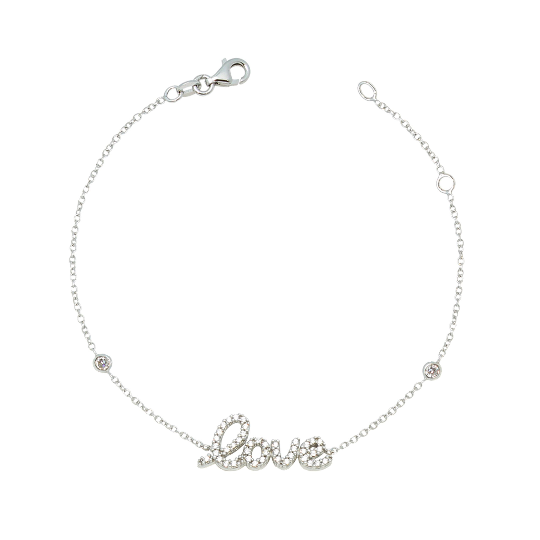 UNICORNJ Adult Tweens Teens 14k White Gold Cubic Zirconia Pave Love Bracelet 7'' Italy