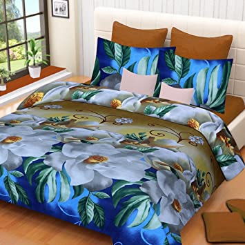 a8ebcfbaf05 Sky Tex Multi Colored Light Weighted Beautifully Designed 3D Printed Poly  Cotton 140 TC Double Bed Sheet with 2 Pillow Covers  Amazon.in  Home    Kitchen